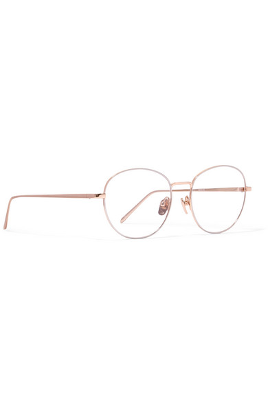 Round-frame rose gold-plated glasses Linda Farrow crhAR