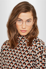 Round-frame rose gold-plated optical glasses