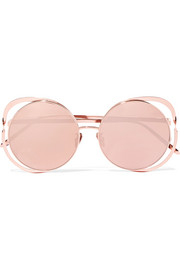 Linda Farrow Round-frame rose gold-plated mirrored sunglasses