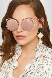 Round-frame rose gold-plated mirrored sunglasses