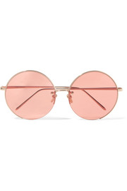 Round-frame rose gold-plated sunglasses