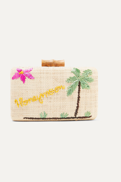 Embroidered Woven Straw Clutch in Neutral