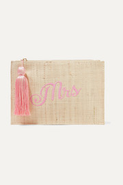 Mrs embroidered woven straw pouch