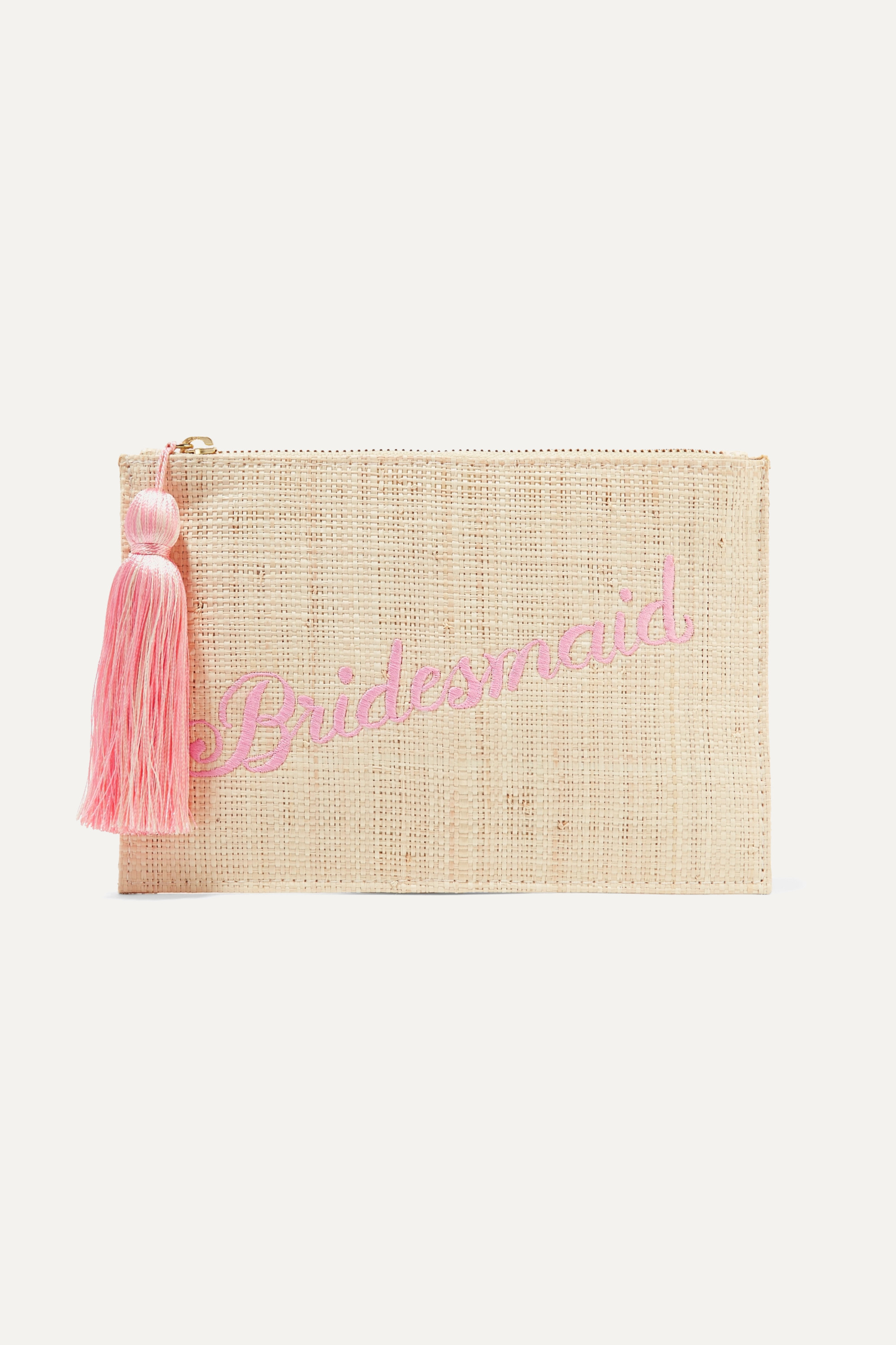 Kayu Bridesmaid embroidered woven straw pouch