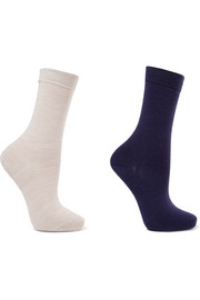 Set of two stretch wool-blend socks