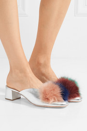 Lulu faux fur-trimmed metallic textured-leather mules