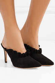 Langley ruffled suede mules