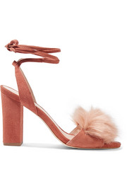 Nicolette faux fur-trimmed suede sandals