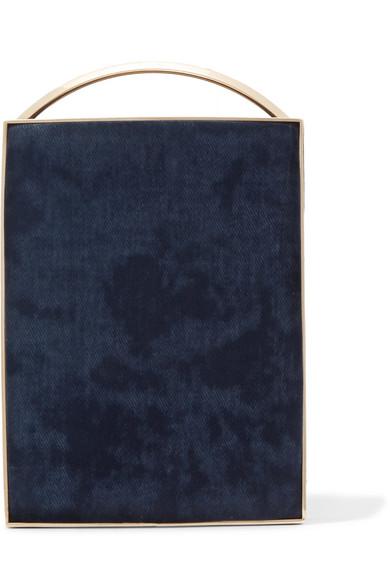 Eddie Borgo Mak Minaudière Clutch aus gebürstetem Twill mit Lederbesatz Billig Verkauf Vermarktbare Verkauf Original Besuchen Neue Online Billig Geniue Händler KC330z