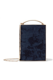 Eddie Borgo Mak Minaudière leather-trimmed brushed-twill clutch