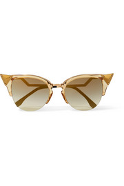 Embellished cat-eye gold-tone and acetate sunglasses