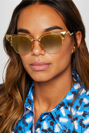 Fendi Embellished cat-eye gold-tone and acetate sunglasses