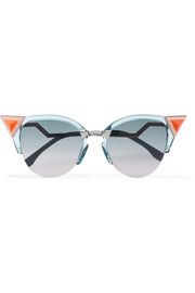 Fendi Embellished cat-eye silver-tone and acetate sunglasses