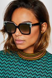 Fendi Studded square-frame acetate sunglasses