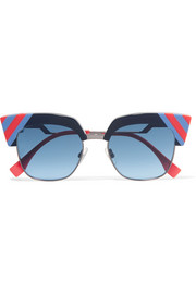 Fendi Striped cat-eye acetate and gunmetal-tone sunglasses