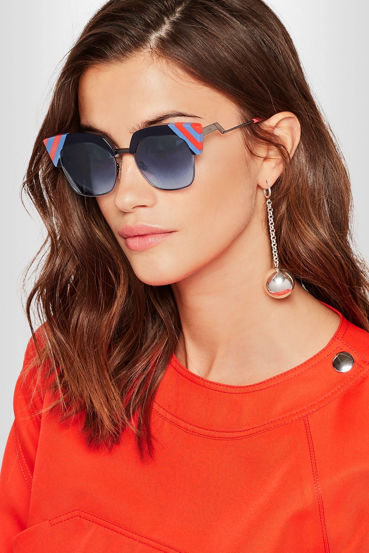 Fendi Striped cat-eye acetate and gunmetal-tone sunglasses