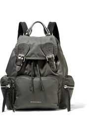 Medium leather-trimmed gabardine backpack