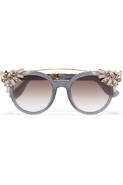 Vivy/S embellished round-frame acetate and gold-tone sunglasses