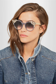 Jimmy Choo Vivy/S embellished round-frame acetate and gold-tone sunglasses