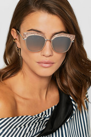 Jimmy Choo Cat-eye silver-tone and glittered acetate sunglasses