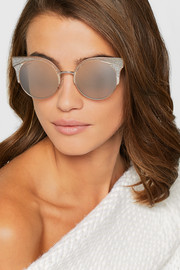 Jimmy Choo Cat-eye glittered silver-tone sunglasses