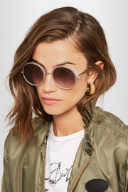 Jimmy Choo Glittered round-frame acetate sunglasses