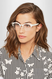 Jimmy Choo Round-frame glittered acetate optical glasses