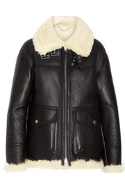 Shearling-lined leather coat