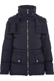 Convertible hooded quilted shell down jacket
