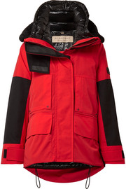 Burberry Faux shearling and shell-trimmed canvas down coat