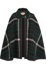 Canvas-trimmed checked wool cape