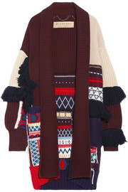Burberry Fringed patchwork wool and cashmere-blend cardigan