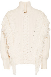 Oversized fringed cable-knit cotton-blend sweater