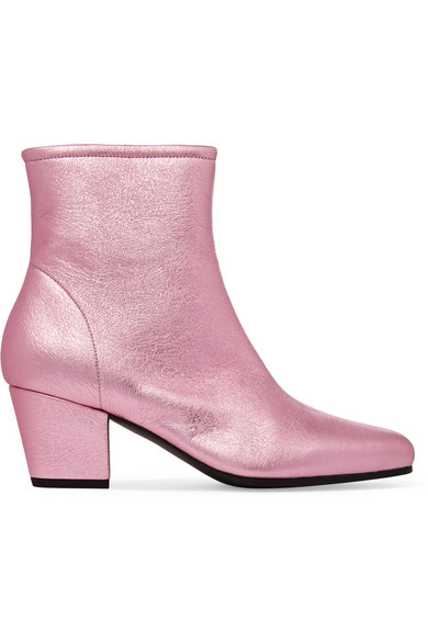 ALEXACHUNG - Beatnik Metallic Textured-leather Ankle Boots - Pink