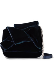 Knot leather-trimmed velvet and satin shoulder bag