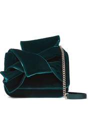 Knot satin-trimmed velvet shoulder bag