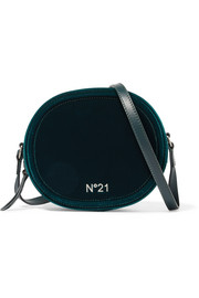 No. 21 Velvet and leather shoulder bag