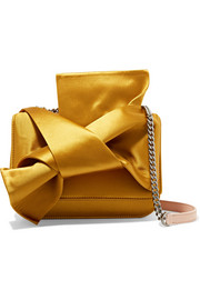 Knot satin and leather shoulder bag