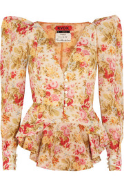 Floral-print cotton and silk-blend voile jacket