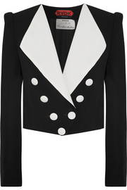 Cropped double-breasted crepe and silk-ottoman blazer