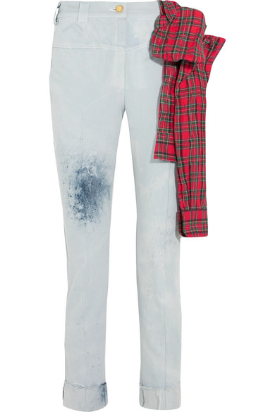 RONALD VAN DER KEMP Cropped Flannel-Trimmed Painted High-Rise Slim-Leg Jeans in Light Denim