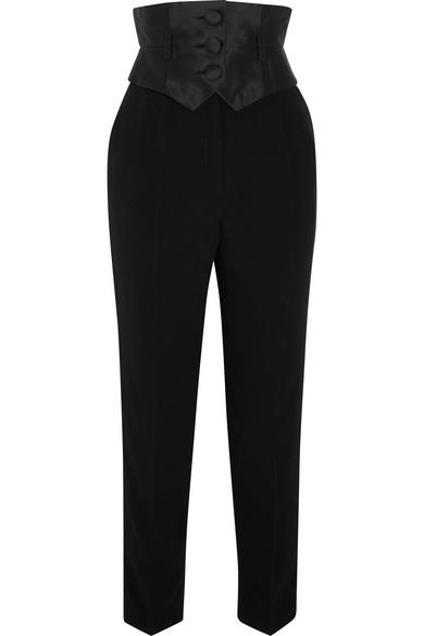 Crepe And Silk-mikado Slim-leg Pants - Black Ronald van der Kemp 4p1NKKk