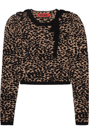 Merino wool-blend leopard-jacquard sweater