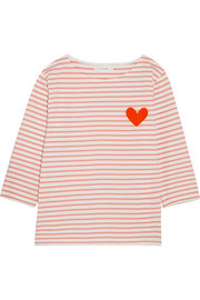 Chinti and Parker Velvet-appliquéd striped cotton-jersey top