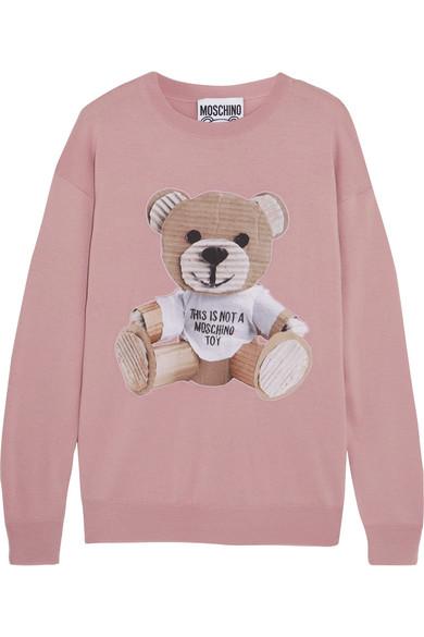 Moschino - Appliquéd Wool Sweater - Pink