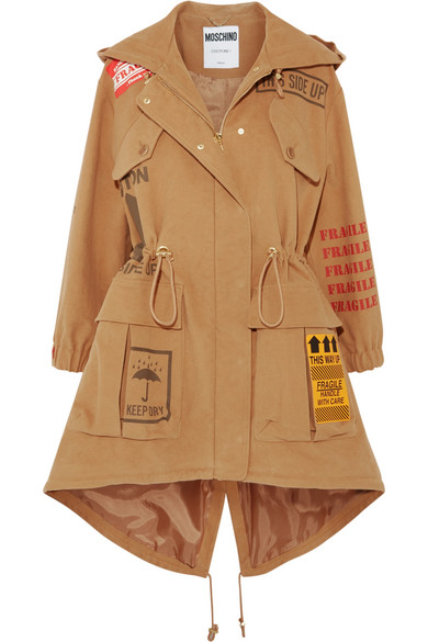 Moschino - Appliquéd Printed Brushed-cotton Hooded Parka - Camel