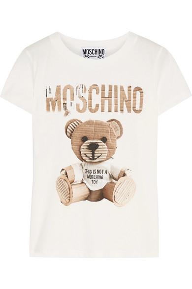 Moschino - Printed Cotton-jersey T-shirt - Ivory