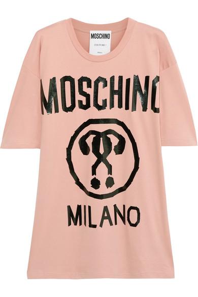 Moschino - Oversized Printed Cotton-jersey T-shirt - Blush