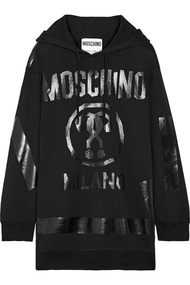 Moschino - Oversized Printed Cotton-jersey Hooded Top - Black