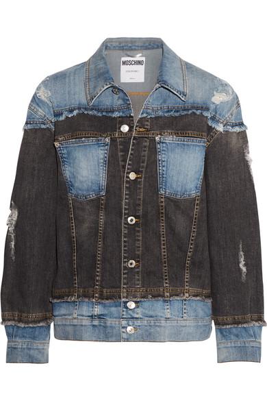 Moschino - Distressed Patchwork Denim Jacket - Blue